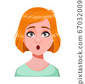 Face expression of redhead woman, surprised 67032009