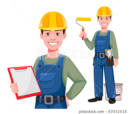 Builder cartoon character, set of two poses 67032018