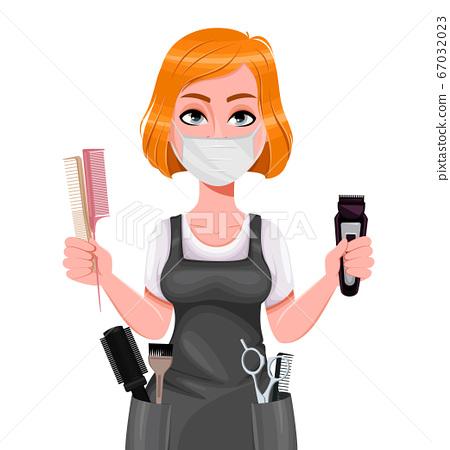 Cute woman barber. Female hairstylist 67032023