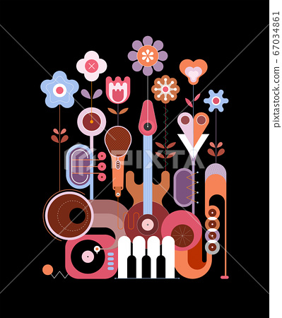 Flowers and Musical Instruments vector 67034861