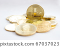 Crypto currency on a white background - litecoins 67037023