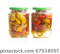 Round chili peppers. Green and red pickled 67038005