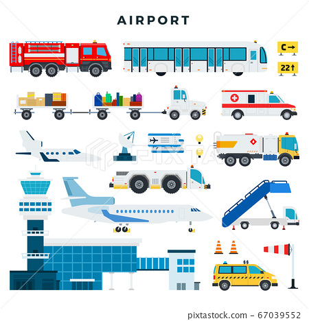 Airport, set of icons. Airport building, control tower, aircraft, vehicles of the airport ground services, etc. Vector illustration in flat style. 67039552
