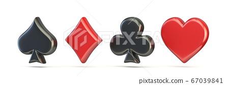 Spade, diamond, club and heart 3D 67039841