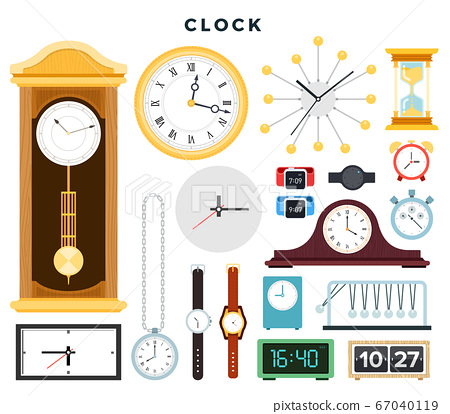 Different old and modern clocks and hand watches, set. Vector illustration, isolated on white. 67040119