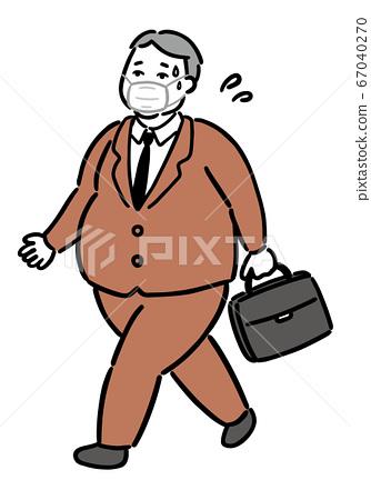 肥胖和肥胖的總統(商人)行走口罩熱 67040270
