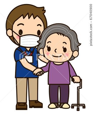 男照顧者和奶奶一起散步 67040900