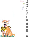 Illustration of a cute Shiba Inu crazy about playing 67041231