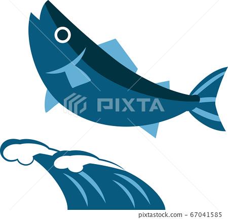 跳躍的魚和波浪(日式) 67041585