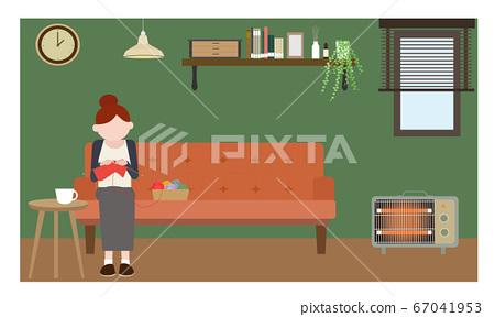 생활 · 뜨개질을하는 여성 67041953