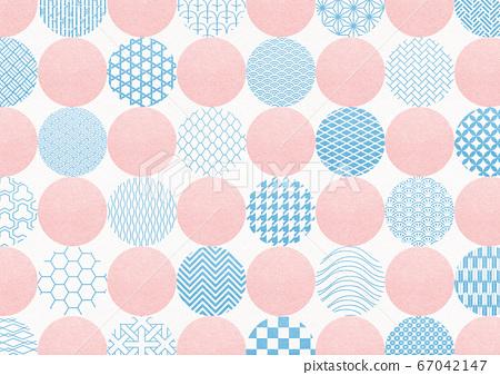日式花紋背景材料-圓點-圓形圖案-紡織 67042147