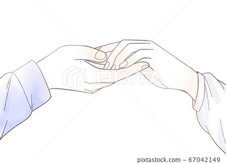 손 잡는 남녀의 손 그림 수채화 투과 ver 67042149
