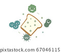Illustration where mold propagates on loaf of bread 67046115