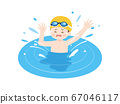 Illustration of a boy drowning in the pool 67046117