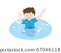 Illustration of a boy drowning in the river 67046118