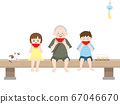 Illustration of eating watermelon with cute grandchildren 67046670