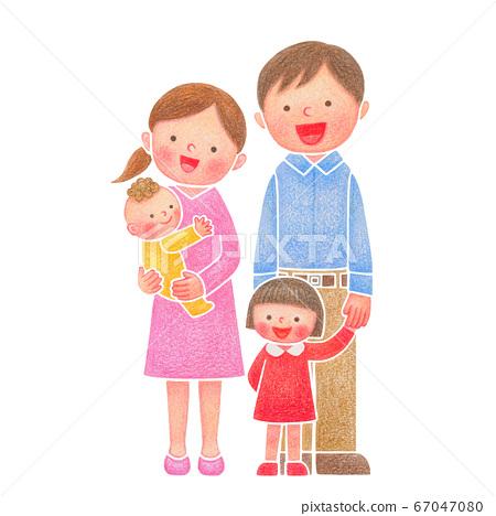 家庭手繪插圖女孩 67047080