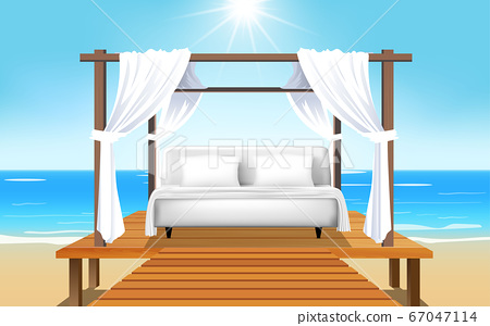 landscape outdoor cabana bed on the beach in day time 67047114