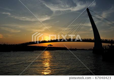 淡水,淡水漁人碼頭,港口,海岸線,黃昏,夜景,日落,橋 67048423
