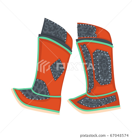 Mongolian Boots, Part of Traditional Dress of Central Asian Vector Illustration 67048574