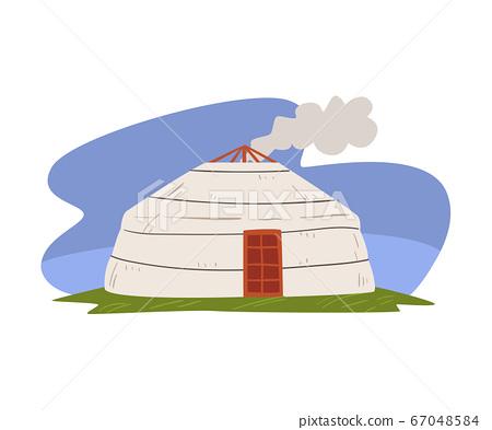Mongolian Yurt, Nomadic Dwelling of Asian People Vector Illustration 67048584