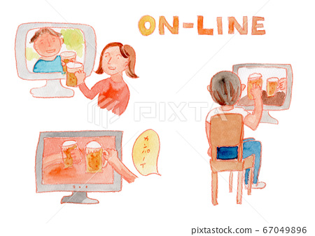 Online drinking party watercolor set 67049896