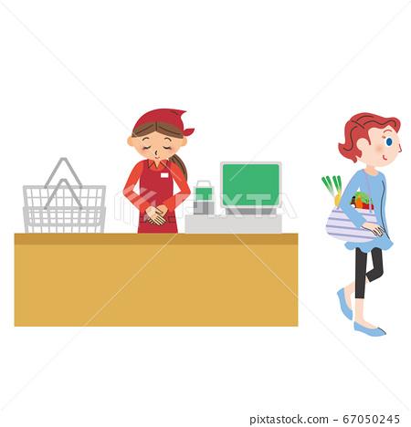 一個女人帶著環保袋購物 67050245