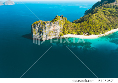 Aerial drone view of Dilumacad also called Helicopter Island in El Nido, Palawan, Philippines 67050571
