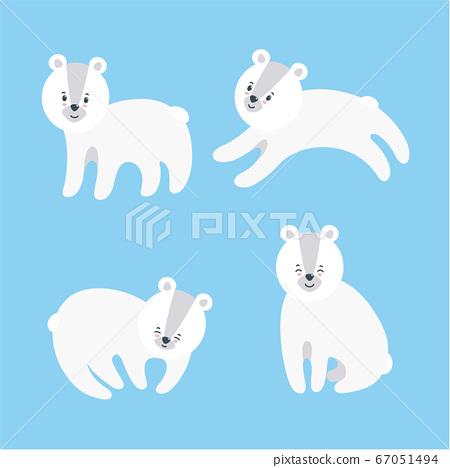 Set of polar bears. Vector illustration in flat style 67051494