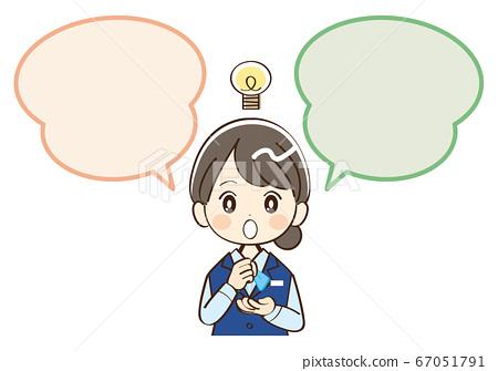 女人,銀行業務員,講話泡泡,靈感 67051791