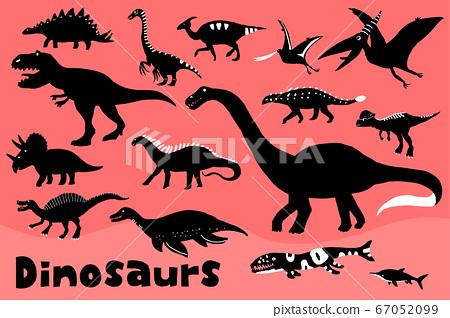 手繪可愛恐龍剪影圖 67052099