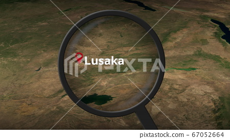 Lusaka city being found on the map, 3d rendering 67052664