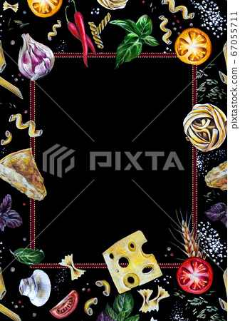 Hand-drawn frame ornament border: Italian pasta with tomatoes, cheese, basil, spice on black. Great idea for menu booklet, food delivery flyer or restaurant ads, cards or stickers, slides. A4 size 67055711