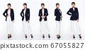 Asian woman 20s blue business suit jacket white 67055827