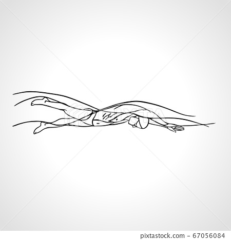 Freestyle Swimmer Silhouette. Sport pro swimming vector sketch 67056084