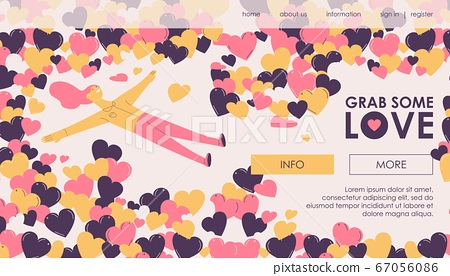 Vector concept landing page with woman laying in 67056086