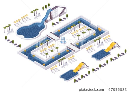 Isometric water park, hotel outdoor scene with set 67056088