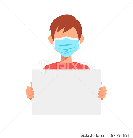 Doctor man in medical mask holding a blank protest 67056651