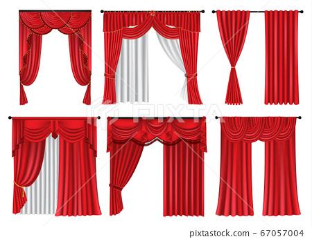 Set of red luxury curtains and draperies on white 67057004