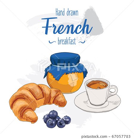Hand drawn French breakfast menu. Croissant, espresso, jam and blueberries. 67057783