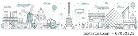 Paris skyline. Line cityscape with building 67060228
