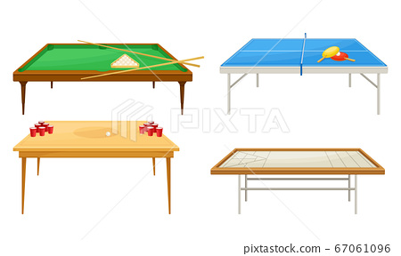 Tables for Board Games with Tennis Table and Beer Pong Table Vector Set 67061096