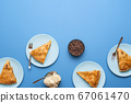 Apple pie slices on plates. Thanksgiving day 67061470