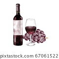 Watercolor illustration of red wine and grapes 67061522