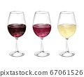 3 types of wine glasses, watercolor style illustration 67061526