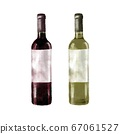 2 types of wine bottles watercolor style illustration 67061527