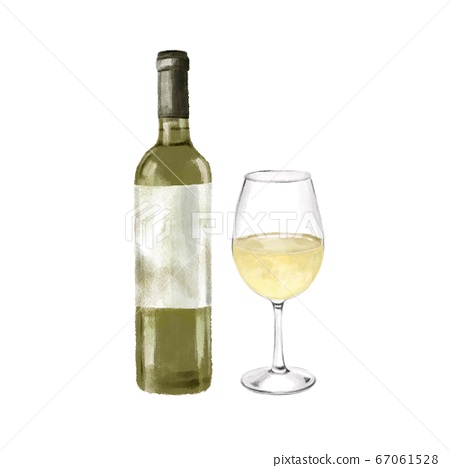 Watercolor Illustration Of White Wine Bottle Stock 67061528 Pixta