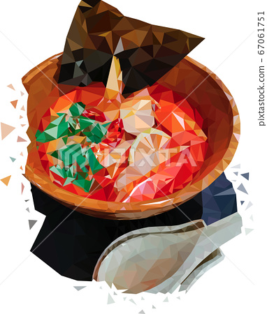 Eastern Tom Yam soup drawn by polygons. Asian soup with lemon, chicken, herbs and coconut milk. Bowl of Tom Yam soup with a spoon made of triangular polygons 67061751