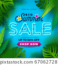 Summer Sale Design with Bright Neon Text and Flower on Blue Background. Tropical Vector Special Offer Illustration with Typography Letter for Coupon, Voucher, Banner, Flyer, Promotional Poster 67062728