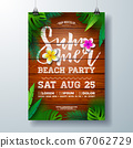 Vector Summer Beach Party Flyer Design with Flower and Palm Leaves on Vintage Wood Background. Summer Holiday Illustration with Vintage Wood Board, Tropical Plants and Cloudy Sky for Celebration 67062729